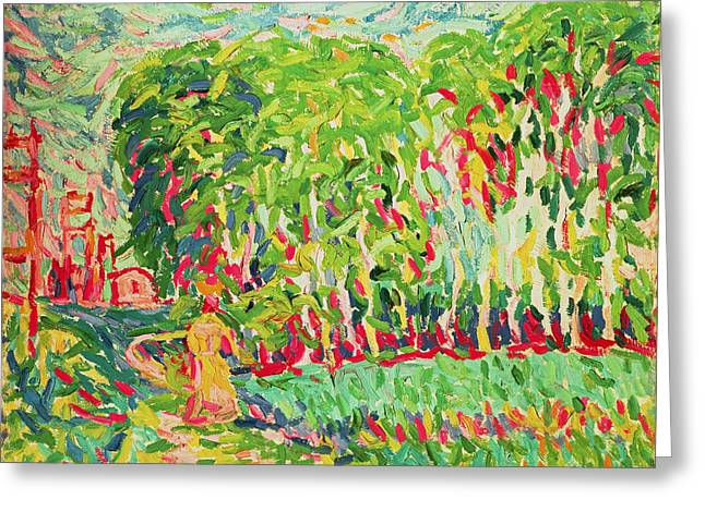 A Woman In A Birch Wood Greeting Card by Ernst Ludwig Kirchner