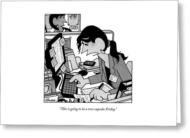A Woman In A Cubicle Works At A Computer Greeting Card