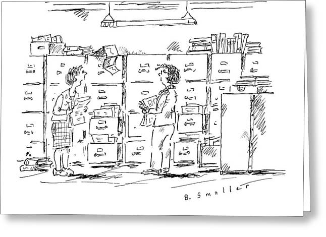 A Woman In A Room Full Of File Cabinets Speaks Greeting Card
