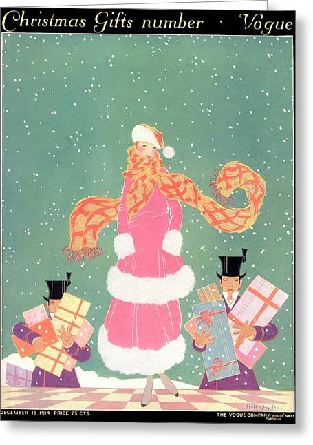 A Woman In The Snow Greeting Card by Helen Dryden