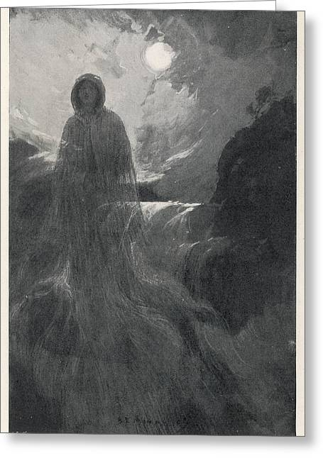 A Woman In White Haunts Aira  Force Greeting Card by Mary Evans Picture Library