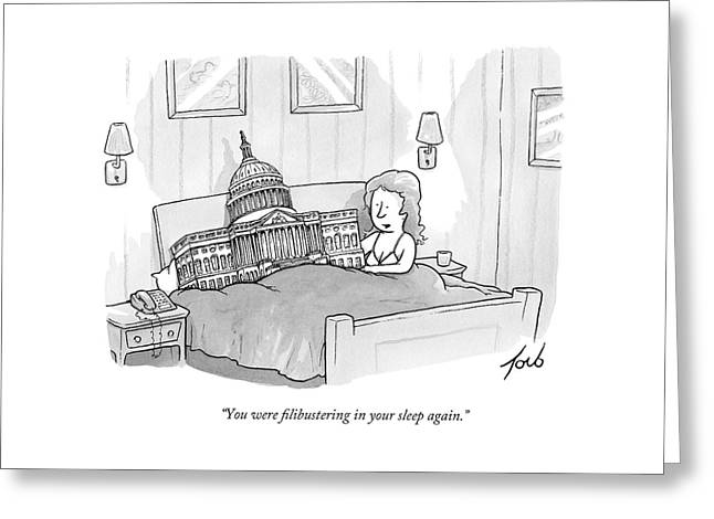 A Woman Is In Bed With The Capitol Building Greeting Card