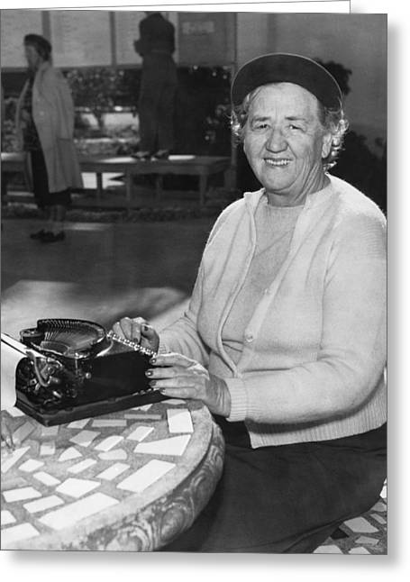 A Woman Journalist Typing Greeting Card