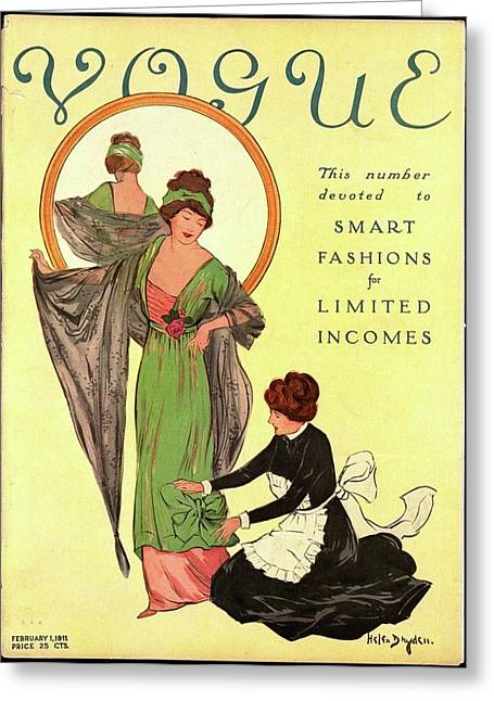 A Woman Modeling And A Maid Assisting Greeting Card by Helen Dryden