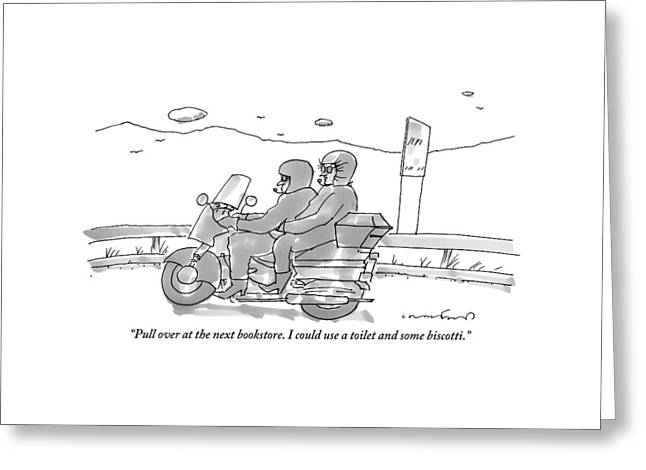 A Woman On The Back Of A Motorcycle Talks Greeting Card by Michael Crawford