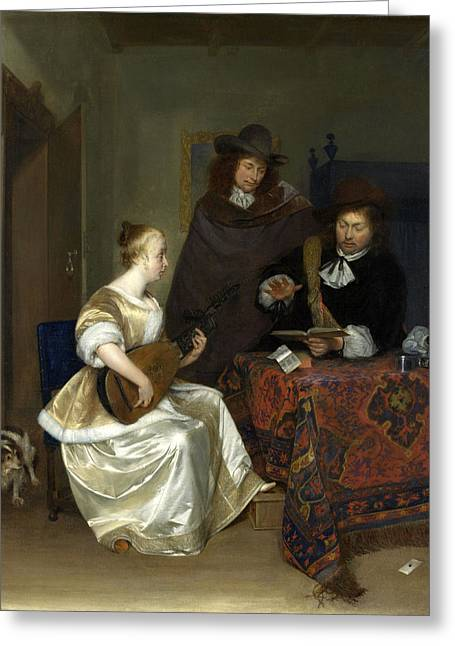 A Woman Playing A Theorbo To Two Men Greeting Card