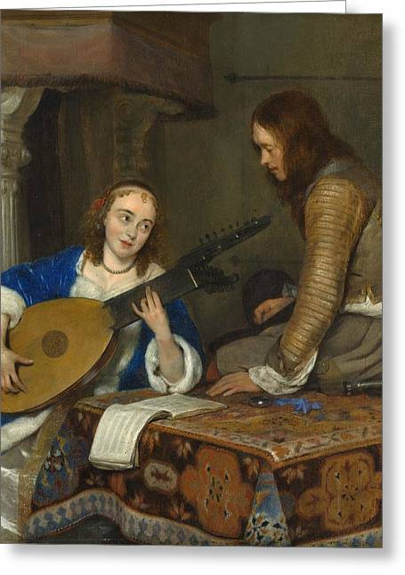A Woman Playing The Theorbo-lute And A Cavalier Greeting Card by Gerard ter Borch