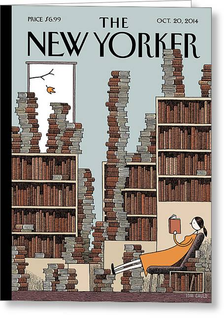 A Woman Reclines In A Room Full Of Books Greeting Card by Tom Gauld