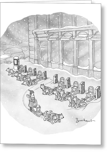 A Woman Rents A Dog Sled Out Of A Row Of Kiosks Greeting Card