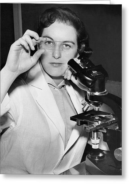 A Woman Scientist Greeting Card by Underwood Archives