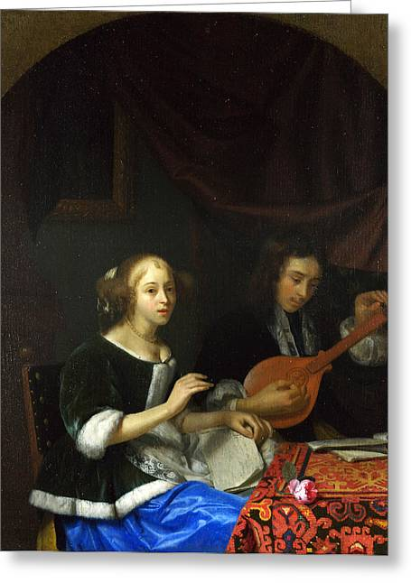 A Woman Singing And A Man With A Cittern Greeting Card by Godfried Schalcken