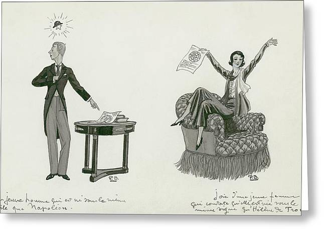 A Woman Sitting On An Armchair And A Man Pointing Greeting Card by Pierre Brissaud