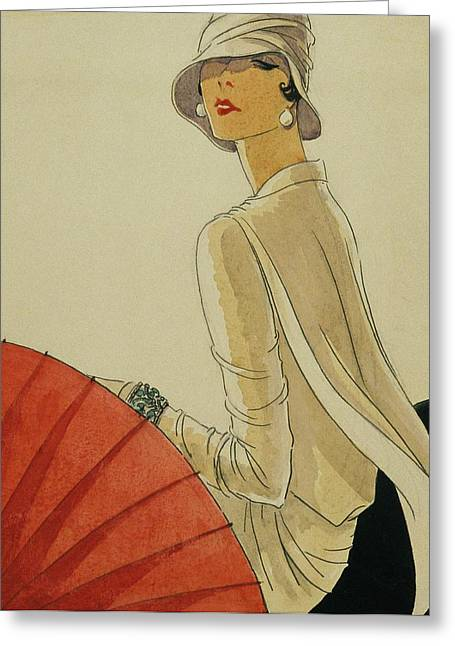 A Woman Sitting Wearing A White Jacket And Pearl Greeting Card by Porter Woodruff