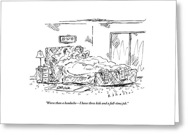 A Woman Speaks To Her Husband In Bed As She Reads Greeting Card by Barbara Smaller