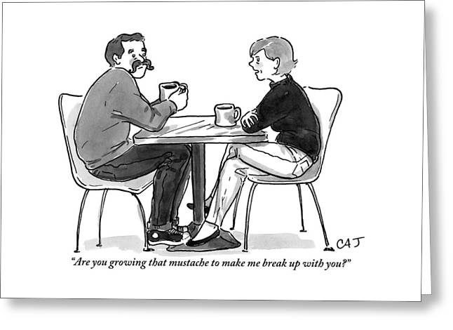 A Woman Talks To A Man With A Mustache Greeting Card