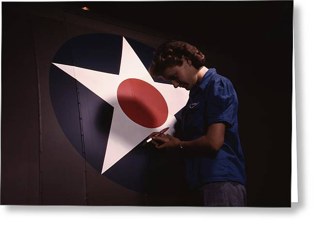 A Woman Touching Up The U.s. Army Air Greeting Card by Stocktrek Images