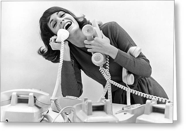 A Woman Tries To Answer Four Telephones Greeting Card by Underwood Archives