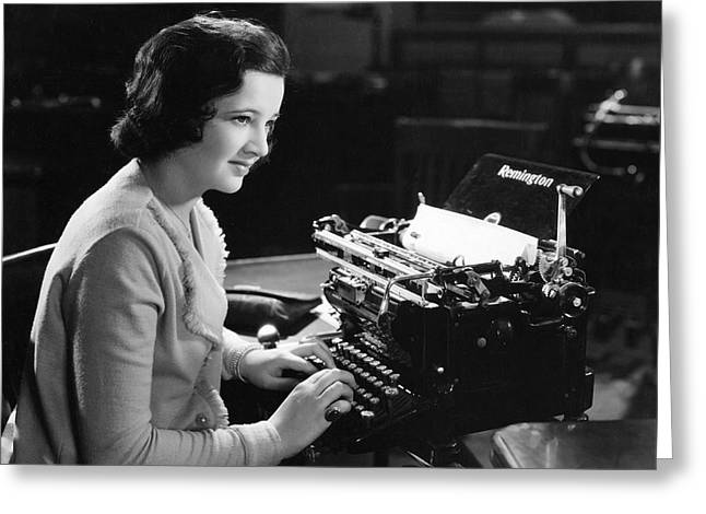 A Woman Typing Greeting Card