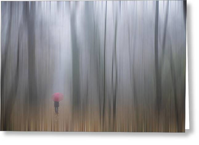 A Woman Walking With A Red Umbrella Greeting Card by Mats Silvan