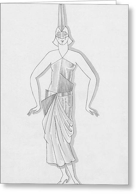 A Woman Wearing A Costume Greeting Card by Robert E. Locher