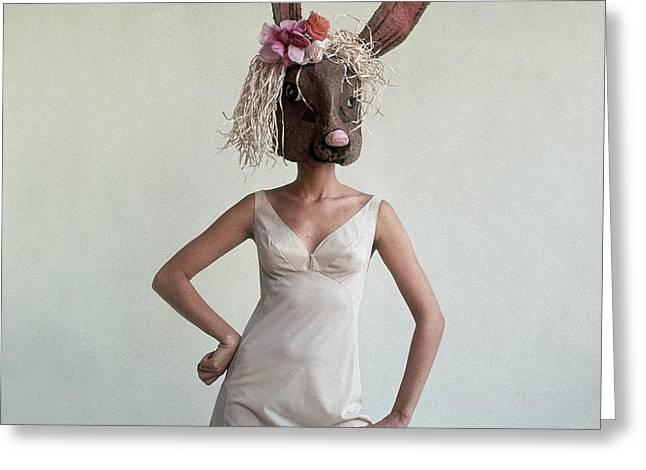 A Woman Wearing A Rabbit Mask Greeting Card by Gianni Penati