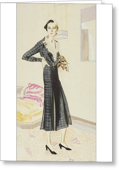 A Woman Wearing A Saks-fifth Avenue Suit Greeting Card by R.S. Grafstrom