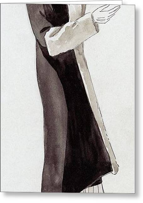 A Woman Wearing Black And White Greeting Card by  David