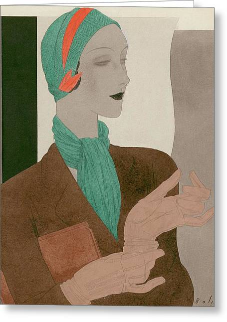 A Woman Wearing Designer Clothing Greeting Card by William Bolin