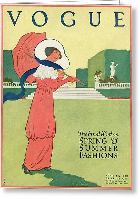 A Woman With A Parasol In A Garden Greeting Card by Helen Dryden