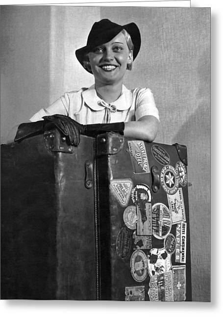A Woman With Her Steamer Trunk Greeting Card
