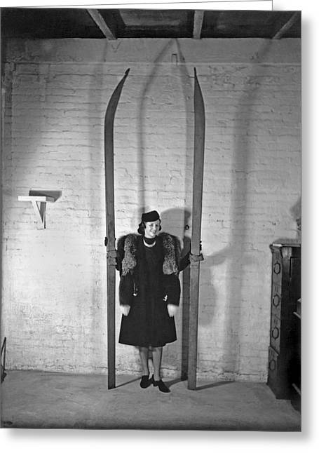 A Woman With Nine Foot Skis Greeting Card