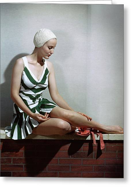 A Women In A Bathing Suit Greeting Card by Horst P. Horst