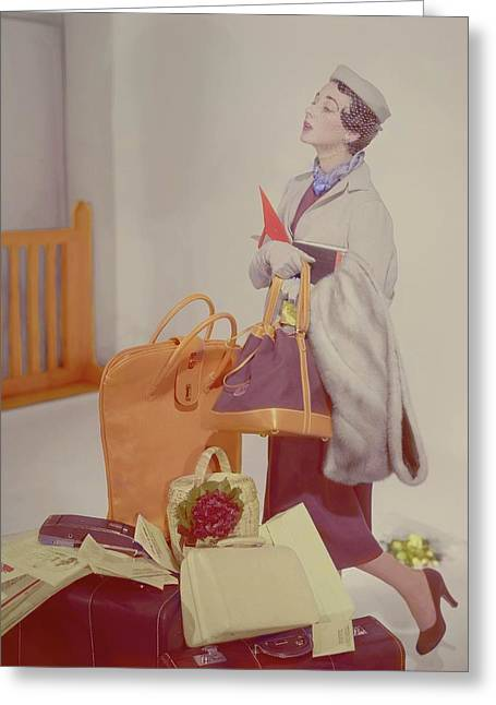 A Women In A Jacket Greeting Card by Horst P. Horst