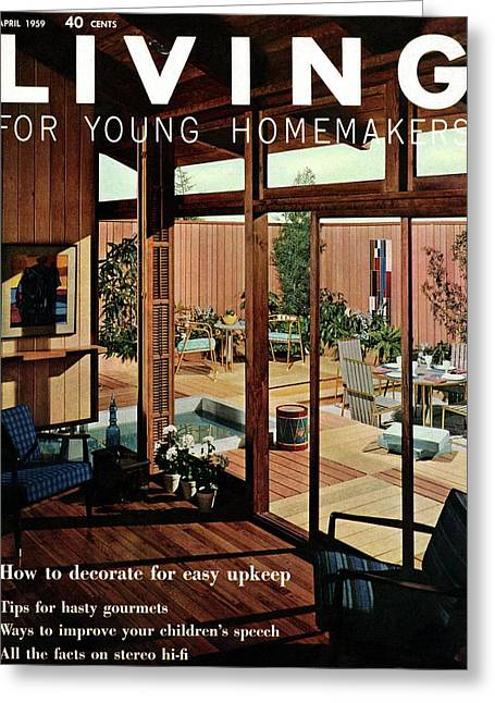 A Wood Paneled Living Room Greeting Card by Ernest Silva