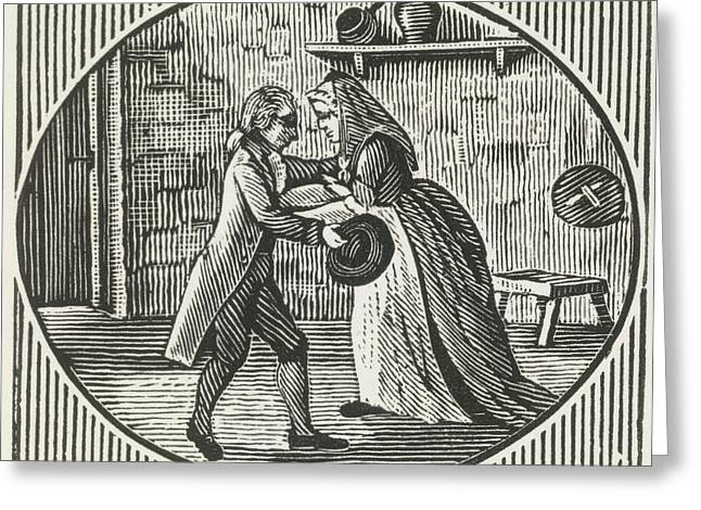 A Woodcut Of A Man And A Woman Embracing Greeting Card by British Library