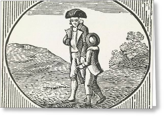 A Woodcut Of A Man And Boy Walking Togeth Greeting Card by British Library
