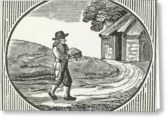 A Woodcut Of A Man Carrying A Package. Greeting Card by British Library