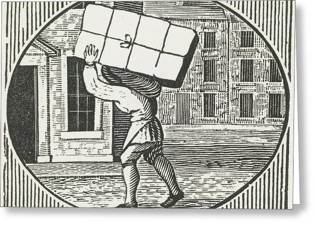 A Woodcut Of A Man Carrying A Parcel. Greeting Card by British Library