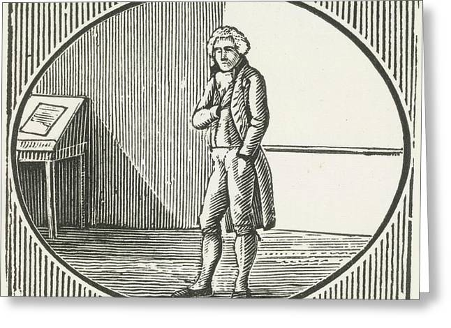 A Woodcut Of A Man Standing Greeting Card by British Library