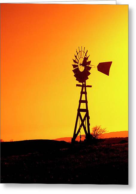 A Wooden Windmill Silhouetted Greeting Card