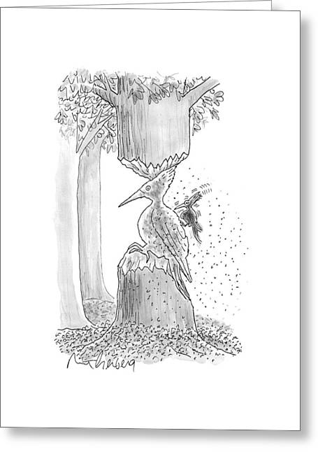 A Woodpecker Is Using His Beak To Carve Is Own Greeting Card by Mort Gerberg