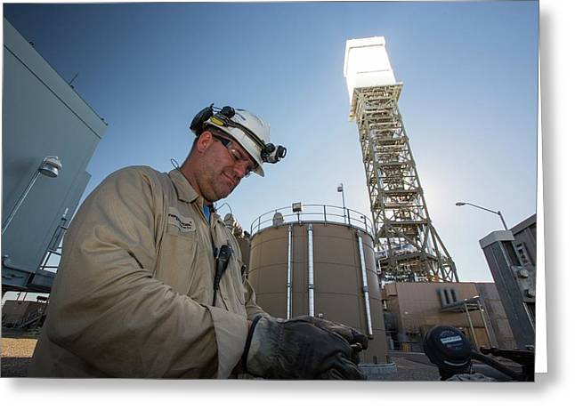A Worker At The Ivanpah Solar Greeting Card by Ashley Cooper