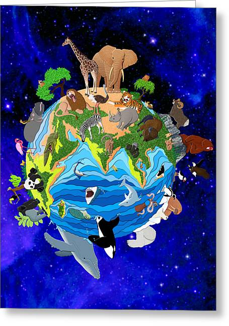 A World Of Animals Greeting Card by Stephen Kinsey