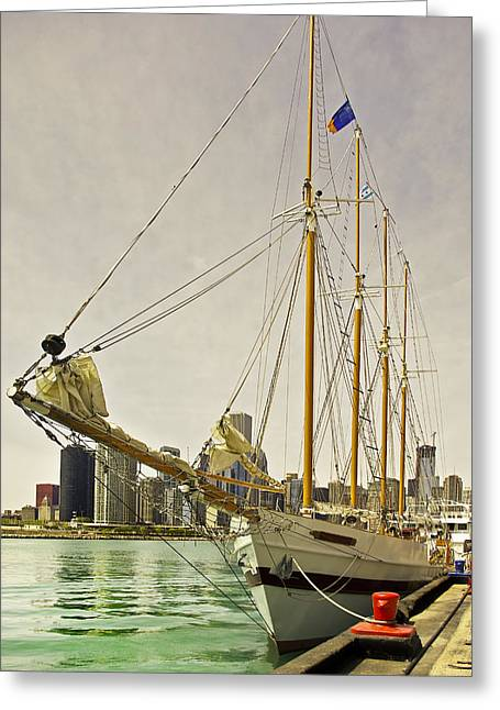 A Yacht Moored At Navy Pier Greeting Card