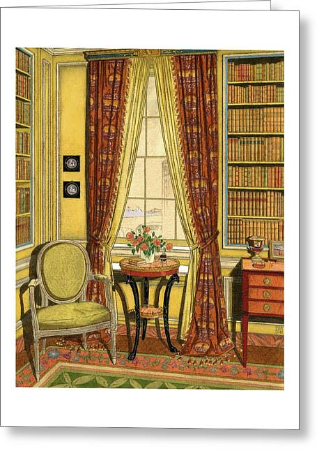 A Yellow Library With A Vase Of Flowers Greeting Card