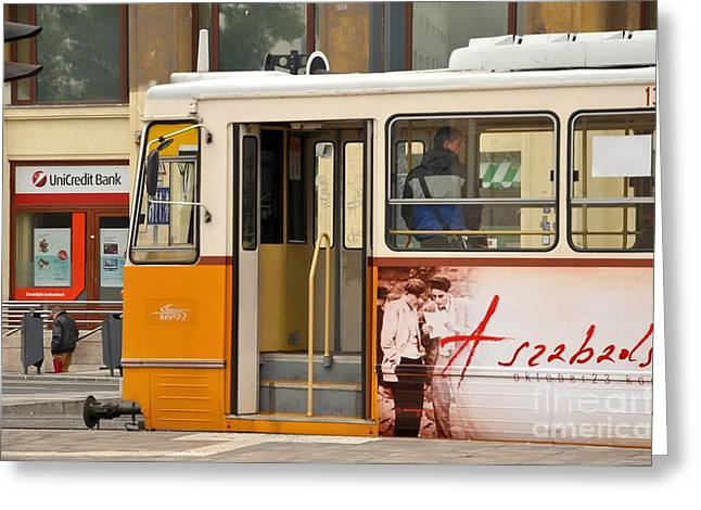 A Yellow Tram On The Streets Of Budapest Hungary Greeting Card