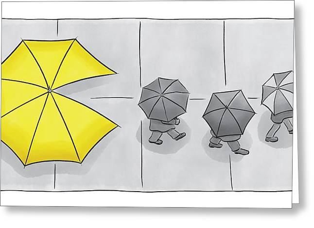 A Yellow Umbrella With A Pacman Mouth Greeting Card