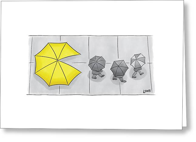 A Yellow Umbrella With A Pacman Mouth Greeting Card by Christian Lowe