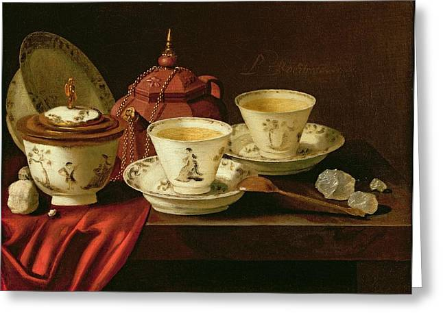 A Yixing Teapot And A Chinese Porcelain Tete-a-tete On A Partly Draped Ledge Oil On Canvas Greeting Card