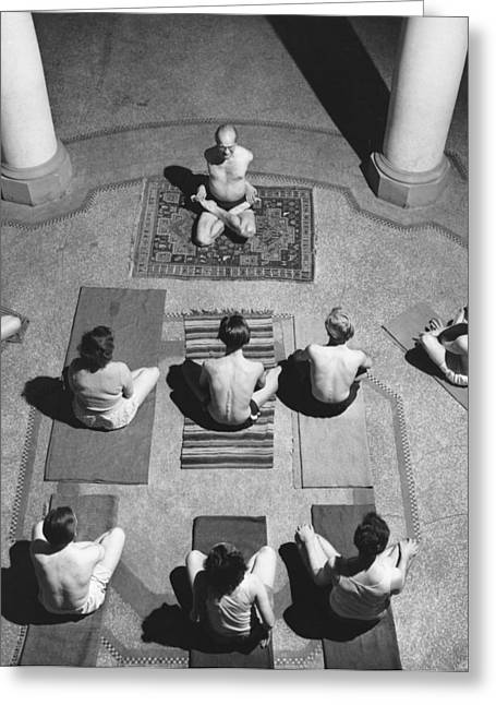 A Yoga Class In Session Greeting Card